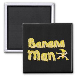 Botón del hombre del plátano imán cuadrado