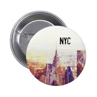 Botón del horizonte de Nueva York Pin Redondo De 2 Pulgadas