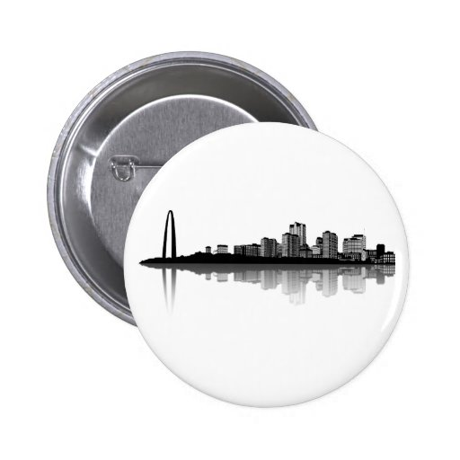 Botón del horizonte de St. Louis (b/w) Pin