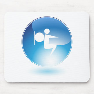 Botón del icono del hombre de la bola del tapetes de ratones