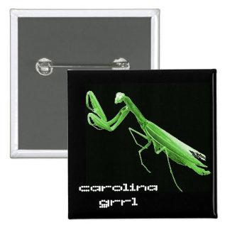 Botón del insecto del estado de Carolina Grrl Pin Cuadrado