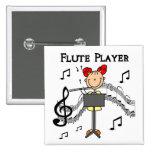 Botón del jugador de flauta pins