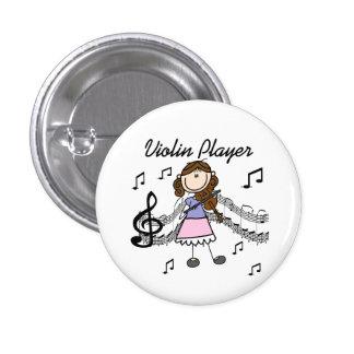 Botón del jugador del violín del chica pin redondo de 1 pulgada
