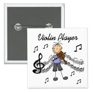 Botón del jugador del violín pin cuadrado