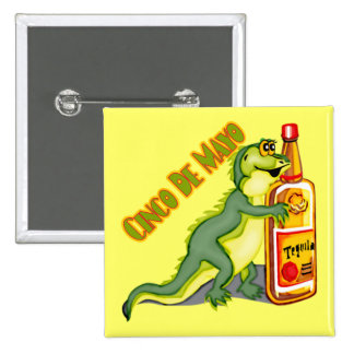 Botón del lagarto del Tequila de Cinco de Mayo Pin