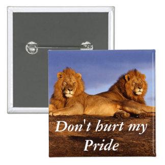 Botón del león pin cuadrado