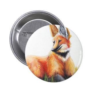 Botón del lobo crinado pin redondo de 2 pulgadas