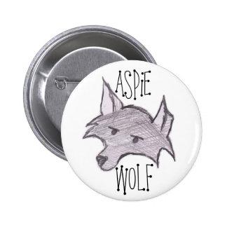 Botón del lobo de Aspie Pin Redondo De 2 Pulgadas