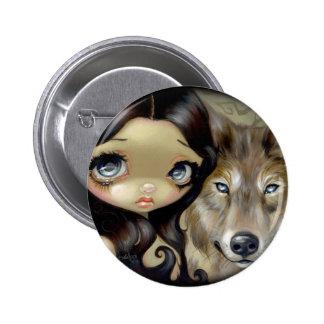 "Botón ""del lobo observado plata"" pin redondo de 2 pulgadas"