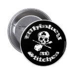 Botón del logotipo del whisky y de las puntadas pin