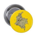 Botón del mapa de Colombia Pin Redondo De 2 Pulgadas