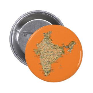 Botón del mapa de la India Pin Redondo De 2 Pulgadas