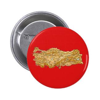 Botón del mapa de Turquía Pin Redondo De 2 Pulgadas