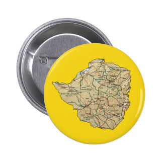 Botón del mapa de Zimbabwe Pin Redondo De 2 Pulgadas