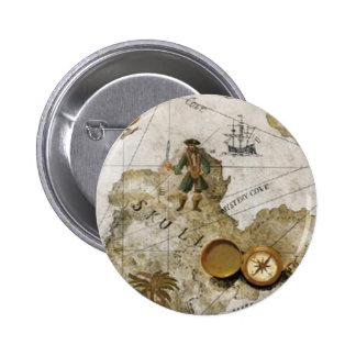 Botón del mapa del tesoro pin redondo de 2 pulgadas