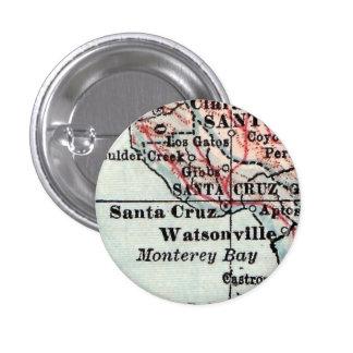 Botón del mapa del vintage de Santa Cruz Pin Redondo De 1 Pulgada