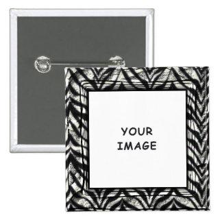 Botón del marco de la foto de la cebra pin cuadrado