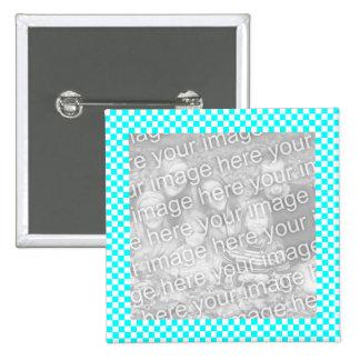 Botón del marco de la foto del tablero de damas pin cuadrado