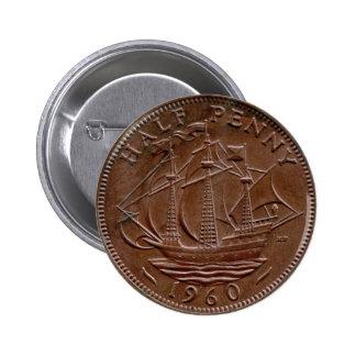 Botón del medio penique de 1960 Británicos Pins