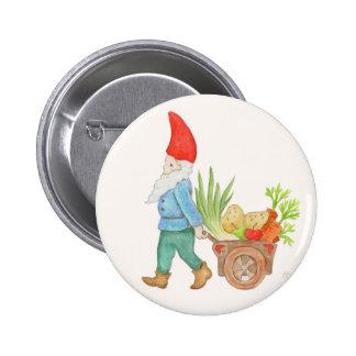 Botón del mercado de los granjeros del gnomo pin redondo de 2 pulgadas