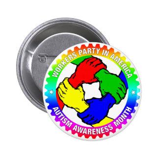 Botón del mes de la conciencia del autismo de WPA Pin Redondo De 2 Pulgadas