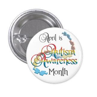 Botón del mes de la conciencia del autismo pin redondo de 1 pulgada