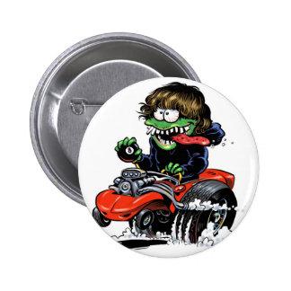 Botón del monstruo del coche de carreras pin