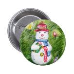 Botón del muñeco de nieve del árbol de navidad pin