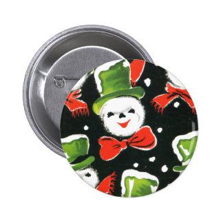 Botón del muñeco de nieve del vintage del navidad pin redondo de 2 pulgadas