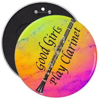 Botón del músico del Clarinet SU TEXTO Pin Redondo De 6 Pulgadas