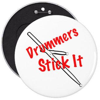 Botón del músico del tambor del batería pin redondo de 6 pulgadas