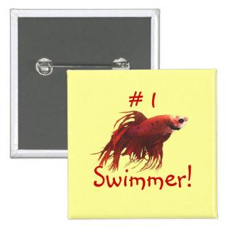 Botón del nadador del número uno pin cuadrado
