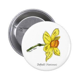 Botón del narciso (narciso) pin redondo de 2 pulgadas