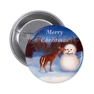 Botón del navidad de la curiosidad pin