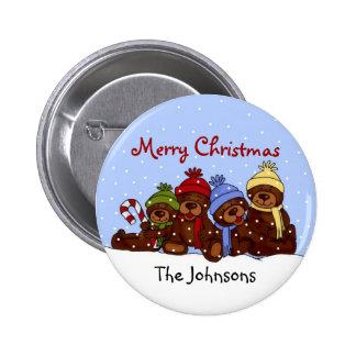 Botón del navidad de la familia del oso pin redondo de 2 pulgadas