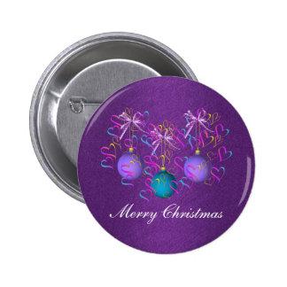 Botón del navidad de los arcos y de los corazones pin redondo de 2 pulgadas
