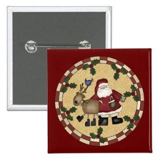 Botón del navidad de Papá Noel y del reno Pin Cuadrado