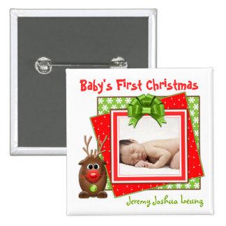 Botón del navidad del bebé del reno del navidad pr pin cuadrado
