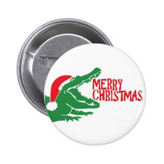 Botón del navidad del cocodrilo pin redondo de 2 pulgadas