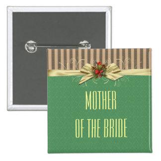 Botón del navidad del damasco de la cinta del oro pin cuadrado
