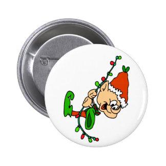 Botón del navidad del duende pin redondo de 2 pulgadas