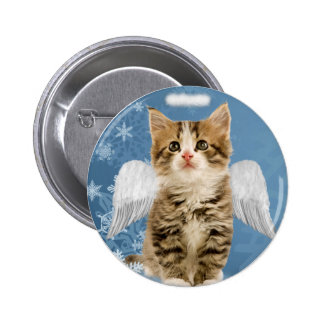 Botón del navidad del gatito del ángel pins