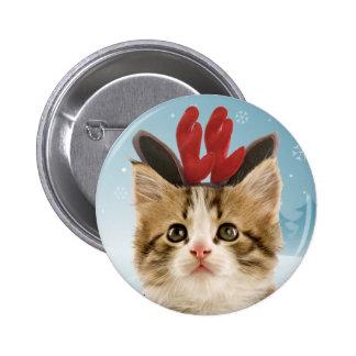 Botón del navidad del gatito del reno pin