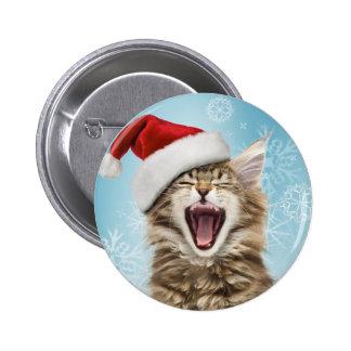 Botón del navidad del gato del canto
