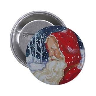Botón del navidad del paseo de Santa Pin Redondo De 2 Pulgadas