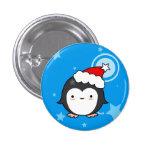 Botón del navidad del soplo del pingüino (más esti pin redondo de 1 pulgada