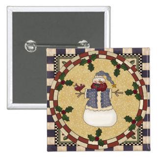 Botón del navidad - muñeco de nieve vestido invier pin cuadrado