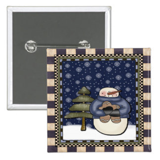 Botón del navidad - muñeco de nieve y galleta pin cuadrado