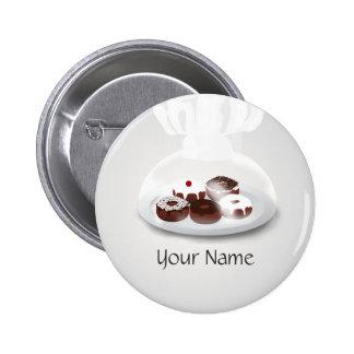 Botón del nombre de la tienda del panadero de la p pin redondo de 2 pulgadas