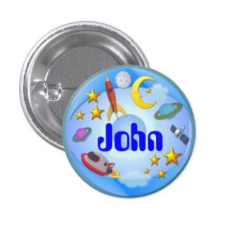Botón del nombre del ~ del viaje del espacio # 2 pin redondo de 1 pulgada